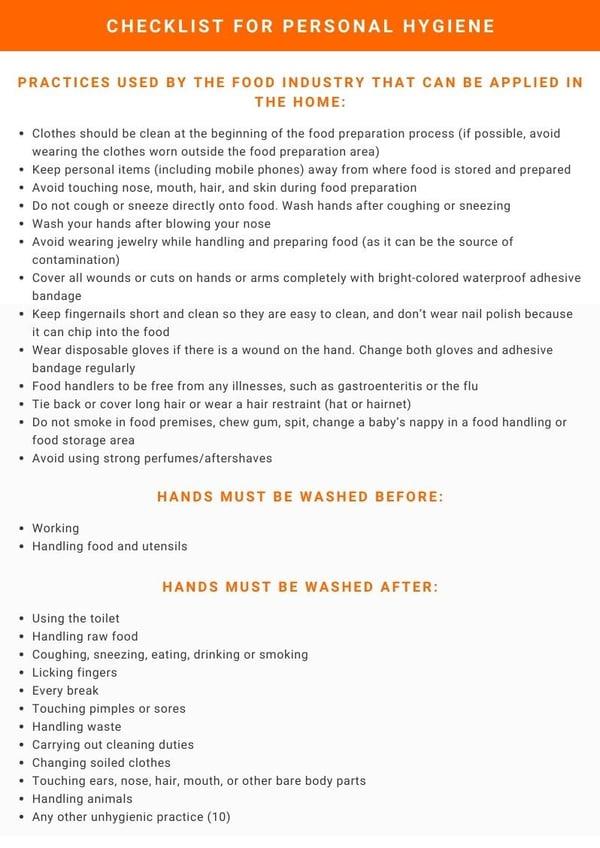 Checklist for Personal Hygiene (2)