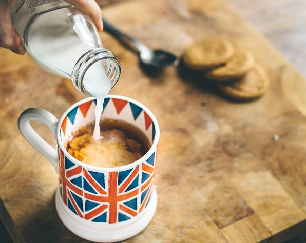 tea cup with uk flag
